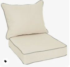 Sunbrella Deep Seat Chair Cushion Pillow Set Corded Antique Beige/Charcoal Piped