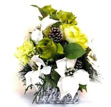 Winter Christmas Centerpiece LIME Green White Poinsettias Silver VASE FREE SHIP