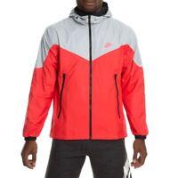 New Nike Men's Packable Windrunner Full Zip Jacket Grey/Red/Black 917809 013