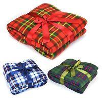 Luxury Soft Flannel Fleece Blanket Throw Sofa Bed Large Warm Chequered Design