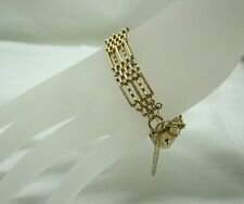 Beautiful Heavy Quality 9ct Gold Fancy link Gate Bracelet And Padlock