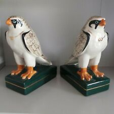 """PAIR OF CERAMIC BOOKENDS IN THE FORM OF BIRDS - 18cm (7"""") TALL"""