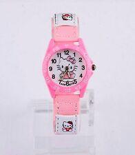 Kids Girls Hello Kitty Light Pink Wrist Watch Analog Leather Strap UK Sellr Slim