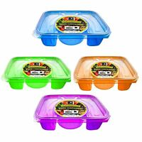 4 Divide Compartment Plastic Food Container Lunch Box Picnic Microwave Freezer