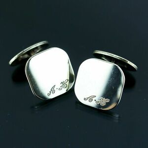 TIFFANY & CO. Vintage Cufflinks Cuff's Button Sterling Silver Initial Engraved