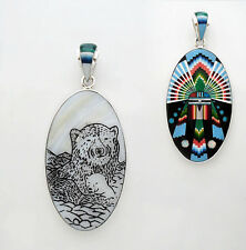 ARTISAN MOTHER & CHILD BEAR PENDANT IN TURQUOISE/MULTICOLOR INLAY IN.925 SILVER