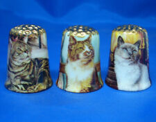 Birchcroft Thimbles -- Set of Three  -- Gold Top Fireside Cats
