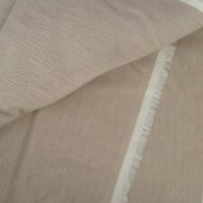 Vintage 1970s 80s Brown White Seersucker Striped Fabric Cotton Poly 2 1/2 YDS