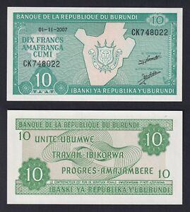 Burundi - 10 francs 2007 FDS/UNC  B-09