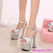 2018Womens Sexy Very High Heels Ladies Platform Wedding Party Sandals Shoes Pump