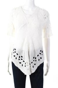 IRO Women's Crew Neck Short Sleeve Derwen Top Cotton White Size 34
