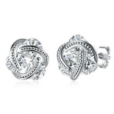 18K White Gold Plated  Sparkling Love Knot Earrings 290696CZ
