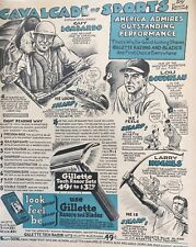 "1947 Gillette Calvacade Of Sports Ad 10"" x 13"" Plastic Wrap On Cardboard!"