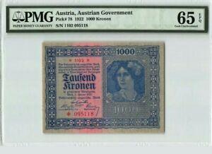 1922 AUSTRIA 1000 KRONEN PMG65 EPQ GEM UNC <P-78>