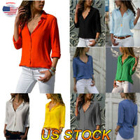 Women Fashion Formal Elegant Casual V-neck Shirt Blouse Turn-down Collar Tops US