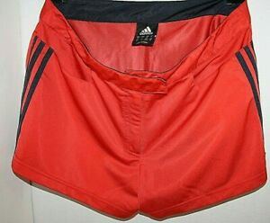 Adidas 3 Stripes Short Shorts Women's Size Large Lg Red with Black Stripes