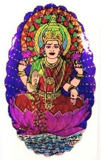 Traditional and Colourful Sitting Laxmiji Foil Sticker – Hindu Religious Sticker