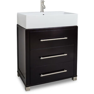 "HARDWARE RESOURCES 28"" BATHROOM VANITY VAN098-T Espresso"