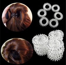 6pcs Lady Girl Clear Elastic Rubber Hair Ties Spiral Slinky Rubber Rope Hairband