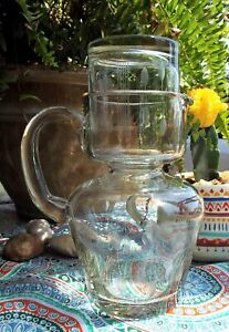 VINTAGE BEDSIDE WATER PITCHER ETCHED GLASS CARAFE WITH CUP DESK SET