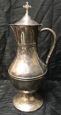 Vtg Atq 14� Silver Soldered Pitcher Coffee Tea Wine Water Pot Jug Cross on Lid