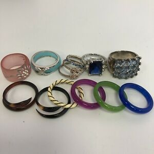 Mixed Statement Ring Bundle x12 Multicoloured Plastic Band Metal Costume 261261