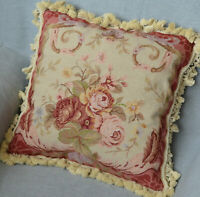 Aubusson Wool Needlepoint Pillow Sham French Country with Tassel Handmade