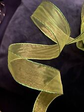 """5m Spring Green Wire edge Organza Ribbon Easter Decor Bow 1.5"""" wide Mesh Bows"""