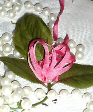 4 YARDS BUCILLA 4mm HOT PINK 100% Silk Ribbon Vintage Bisque Doll Dress Trim
