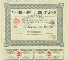 Dépt 44 & Paris IIème - Vertou - Exploitation de Verreries dite de Bretagne 1923
