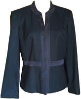 Oscar De La Renta Vintage Women's Dark Blue Floral Trim Blazer 10P Hook Closure