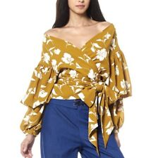 Gracia Front tie detail puff sleeve top Size M /Mustard