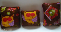 PIN CUSHION  OWL DESIGN COTTON & RED VELVET SMALL WORKBASKET  ORGANZA GIFT BAG