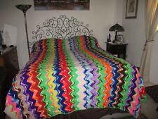 Vintage Crochet Afghan Handmade Throw Queen/King