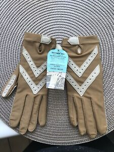 Vintage ISOTONER ARIS Brown Nylon Leather Trim Driving Gloves One Size Stretch