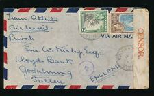 JAMAICA KG6 1941 CENSORED AIRMAIL to GODALMING GB...MANDEVILLE...2s + 2d