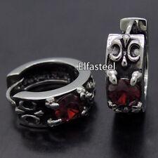 FLEUR DE LIS Ruby Red Cubic Zirconia 316L Stainless Steel Higgie Earrings