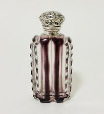 Antique Amethyst Purple Cut Glass Scent Perfume Bottle Solid Sterling Silver Top