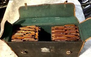 Set Of 10 Antique Mahogany Camera Half Plate Holders With Old Camera Case