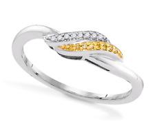 Amarillo y Blanco Anillo con Diamante 10k Oro Banda .05ct Peso Ligero