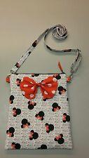 Disney Minnie Mouse white print purse cross body bag with bow, handmade