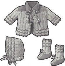Vintage Knitting PATTERN to make 1921 Infant Baby Set Jacket Bonnet Hat Booties