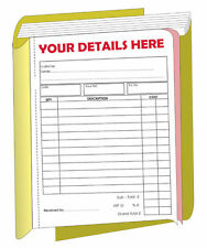 10 x PERSONALISED A5 Invoice/receipt  books ( 2 part )