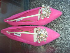 """DUNE """"BEAUX"""" RASPBERRY JEWELLED POINTED TOE FLAT SHOES SZ 4/37"""