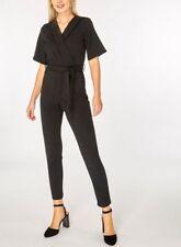 Dorothy Perkins - Black Tuxedo Wrap Short Sleeve Jumpsuit, UK 16, Brand New