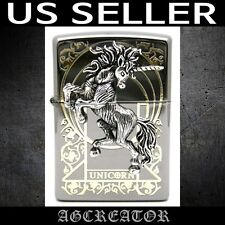 New Japan Korea Zippo lighter unicorn black ice engraved emblem US SELLER