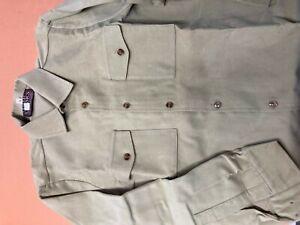 Moleskin shirt pale lovat green, two flap pocket, unworn vintage stock