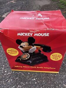 Vintage Disney Mickey Mouse Talking Alarm Clock Radio Telephone Phone In Box