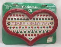 1980s Counted Cross Stitch Christmas Sampler Kit w/ Heart Frame 6x10 Craft 3976F