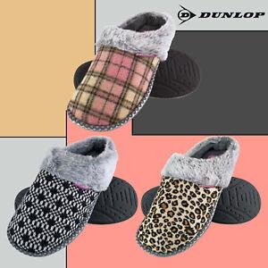 DUNLOP - Ladies Cute Memory Foam Knitted Indoor House Slip On Mule Slippers